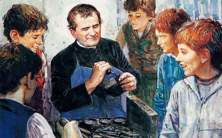 San Juan Bosco enseñándole los oficios a los jóvenes.